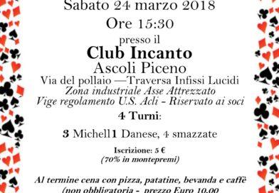 Torneo tra circoli di burraco al Club Incanto  Il 24 marzo alle 15,30
