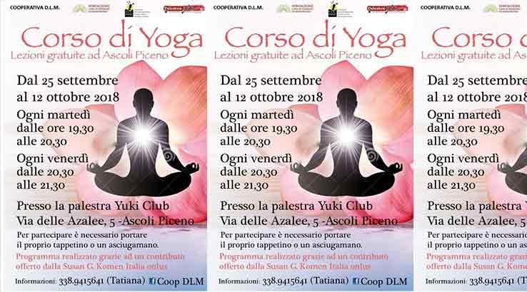 Il 25 settembre parte il corso gratuito di yoga presso la Palestra Yuki Club