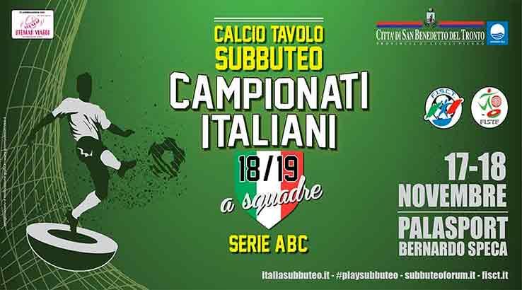 Campionati italiani a squadre di calcio tavolo subbuteo, tutto pronto per San Benedetto del Tronto