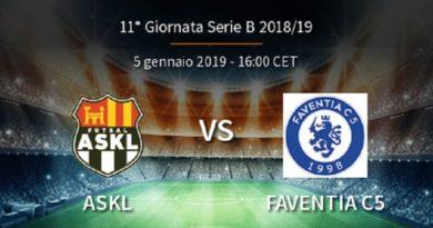 Futsal ASKL-Faventia C5 2-6 report gara. Interviste ai Mister