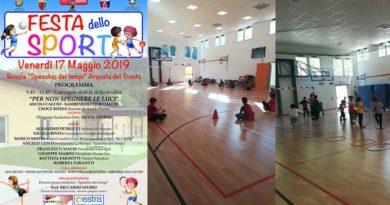"""Festa dello Sport, che si svolgera' venerdi 17 maggio 2019 presso la """"Scuola Specchio dei Tempi """" di Arquata"""