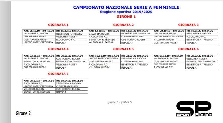 Calendario Benetton Rugby 2019.Fir Serie A Femminile Il Calendario 2019 2020 Sport Piceno