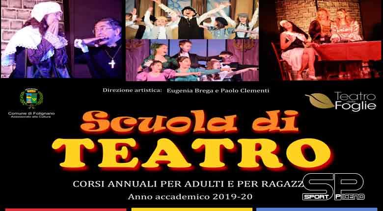 Anche quest'anno riapre i battenti la Scuola di Teatro di Folignano nata dalla collaborazione fra il Teatro delle Foglie e l'Amministrazione Comunale, Assessorato alla Cultura.