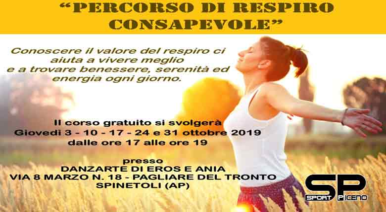 """Dal 3 ottobre, ogni giovedì dalle ore 17 alle ore 19, presso Danzarte in via 8 Marzo 18 a Pagliare, prenderà il via l'iniziativa """"Percorso di respiro consapevole""""."""