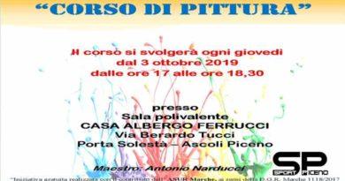 ASCOLI – Dal 3 ottobre, presso la sala polivalente della Casa albergo Ferrucci in via Tucci, prenderà il via un corso gratuito di pittura tenuto dal maestro Antonio Narducci.