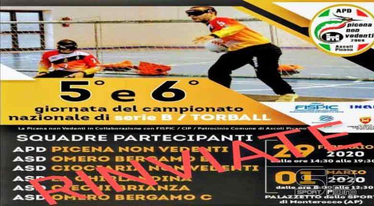 Annullamento gare del Campionato di Torball – Ascoli Piceno