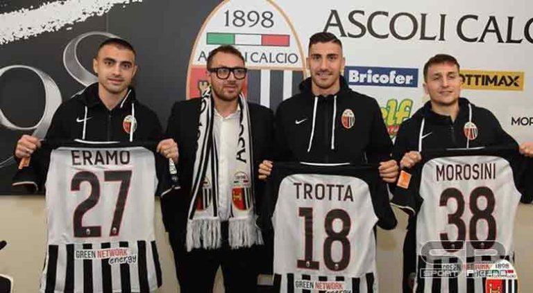 Ascoli Calcio,Presentati Eramo, Morosini e Trotta