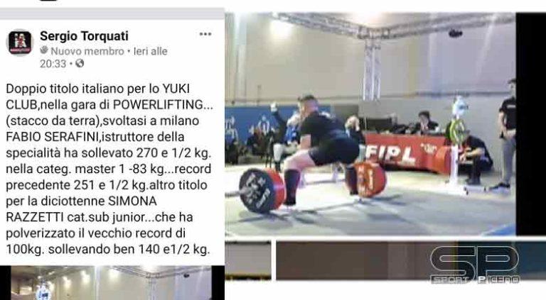 Doppio titolo Italiano, per lo Yuki Club, nella gara di Powerlifting (stacco da terra), svoltasi a Milano.
