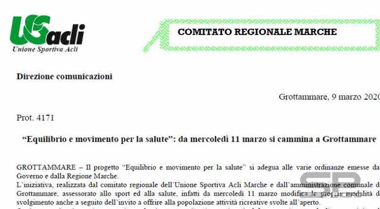 """""""Equilibrio e movimento per la salute"""": da mercoledì 11 marzo si cammina a Grottammare"""