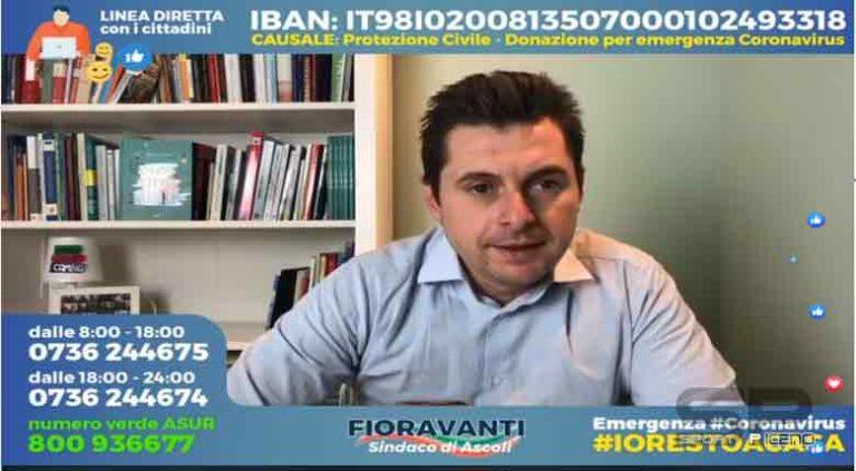 Marco Fioravanti, Sindaco di Ascoli Piceno, Aggiornamento emergenza,  #coronavirus