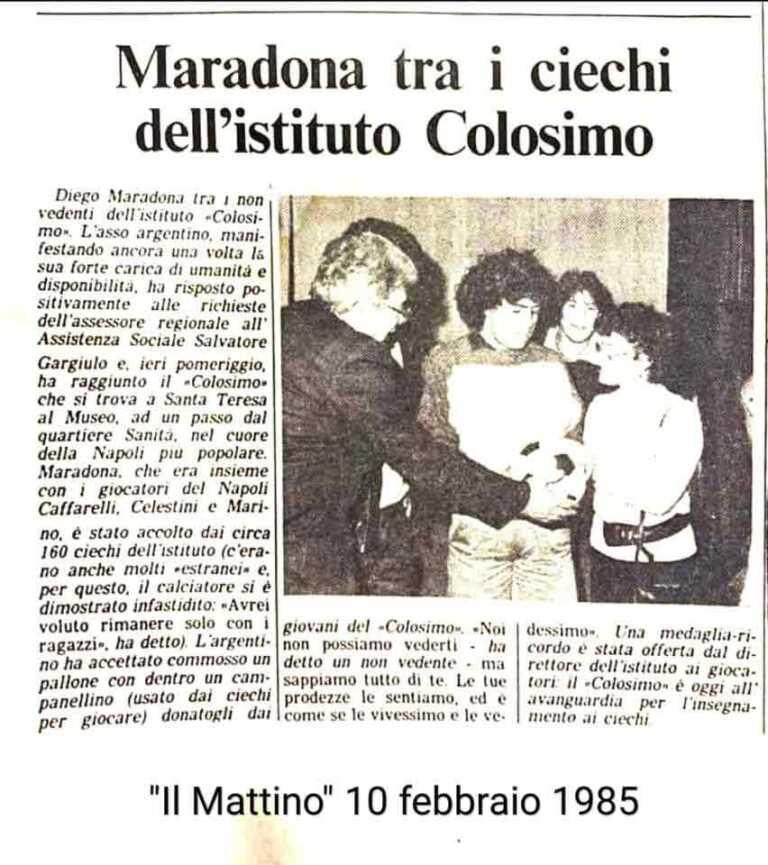 FISPIC, Ricorda MARADONA TRA I CIECHI DELL'ISTITUTO COLOSIMO